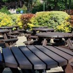 8 Seater Millar Recycled Plastic bench – lifestyle